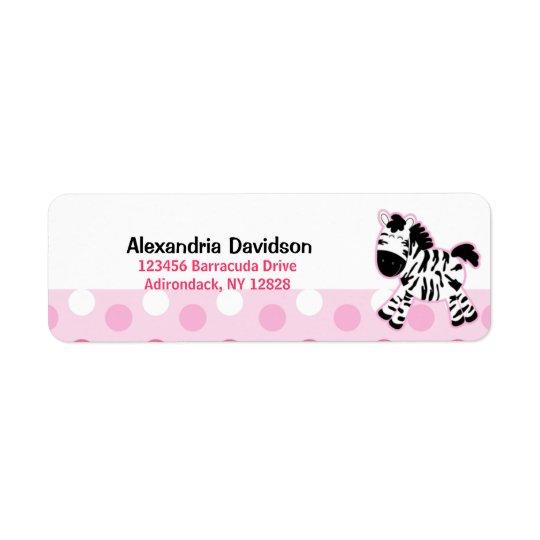 Cute Pink Zebra Custom Address Labels