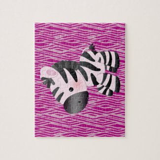 Cute Pink Zebra & Texture Animal Print Puzzle