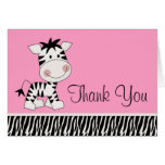 Cute Pink Zebra Thank You Cards