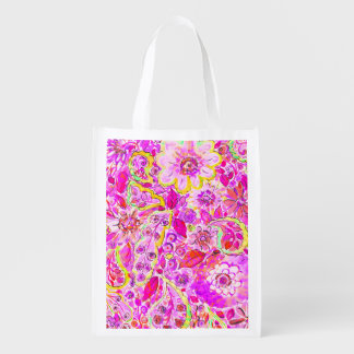 Cute pinky abstract flowers reusable grocery bag