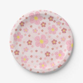 Cute Pinky Flowers Paper Plate