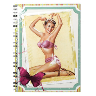 CUTE PINUP GIRL WITH PINK SWIM SUIT AND BIG BOW SPIRAL NOTE BOOK