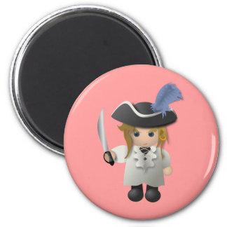 Cute Pirate 6 Cm Round Magnet