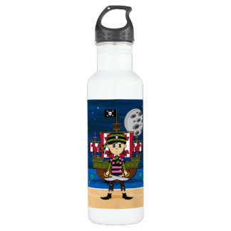 Cute Pirate and Ship 710 Ml Water Bottle