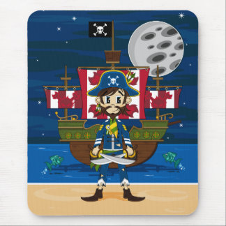 Cute Pirate and Ship Mousepad