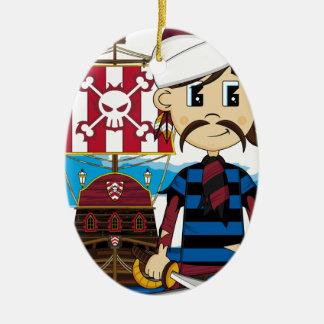 Cute Pirate and Ship Ornament