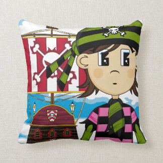 Cute Pirate and Ship Pillow