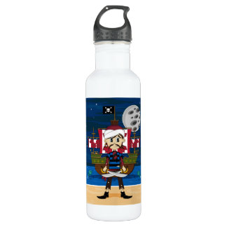 Cute Pirate and Ship Scene 710 Ml Water Bottle