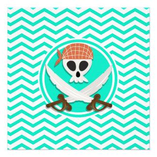 Cute Pirate Aqua Green Chevron Personalized Invites