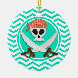 Cute Pirate; Aqua Green Chevron Round Ceramic Decoration