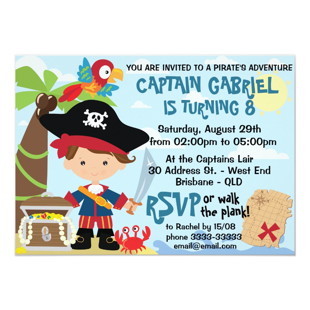Cute Pirate Birthday Invitations