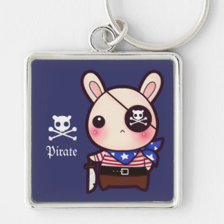 Cute pirate bunny Silver-Colored square key ring