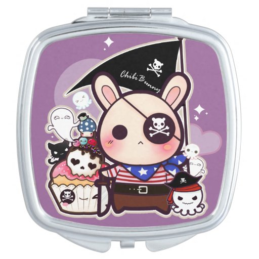Cute pirate bunny with kawaii cupcake and octopus vanity mirrors