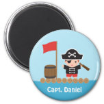 Cute Pirate Captain Ocean Raft Boy 6 Cm Round Magnet