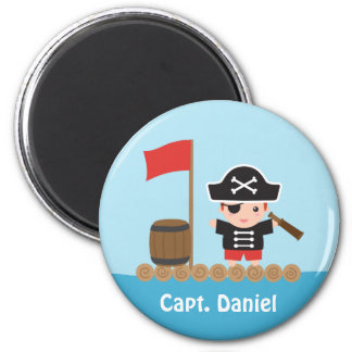 Cute Pirate Captain Ocean Raft Boy 6 Cm Round Magnet
