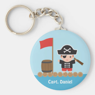 Cute Pirate Captain Ocean Raft Boy Basic Round Button Key Ring