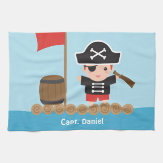 Cute Pirate Captain Ocean Raft Boy Tea Towel