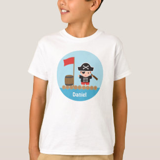 Cute Pirate Captain Ocean Raft For Boys T-Shirt
