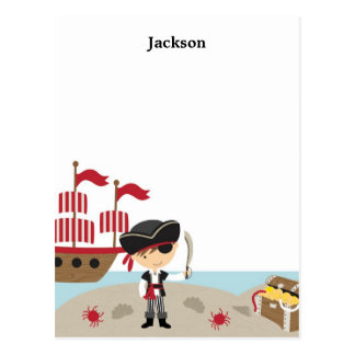 Cute Pirate Flat Note Card Postcard