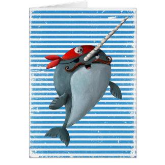 Cute Pirate Narwhal Card