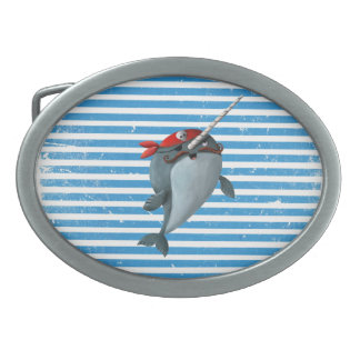 Cute Pirate Narwhal Oval Belt Buckle