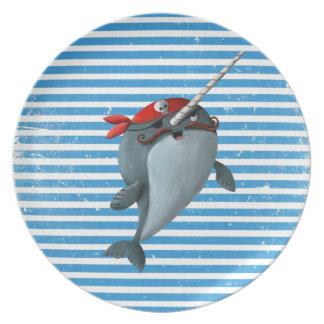 Cute Pirate Narwhal Plate