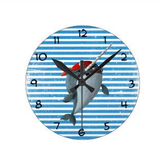 Cute Pirate Narwhal Round Clock