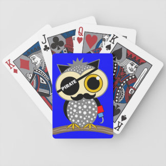 cute pirate owl bicycle playing cards