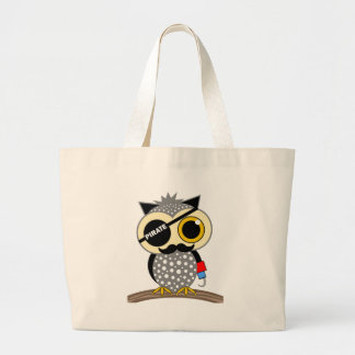 cute pirate owl large tote bag