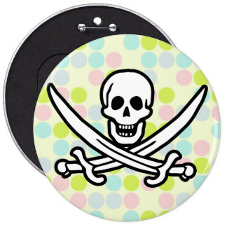 Cute Pirate; Pastel Colors, Polka Dot 6 Cm Round Badge