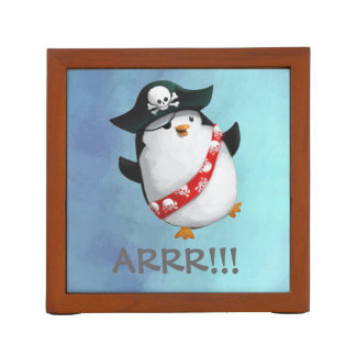 Cute Pirate Penguin Desk Organiser