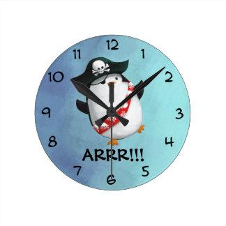 Cute Pirate Penguin Round Clock