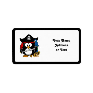 Cute Pirate Penguin with Treasure Chest Address Label