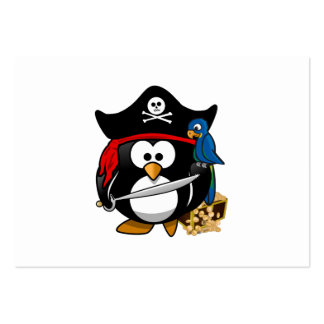Cute Pirate Penguin with Treasure Chest Large Business Cards (Pack Of 100)