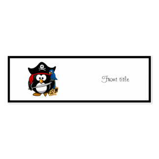 Cute Pirate Penguin with Treasure Chest Double-Sided Mini Business Cards (Pack Of 20)