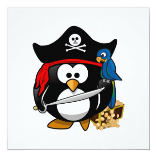 Cute Pirate Penguin with Treasure Chest Card