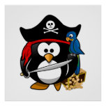 Cute Pirate Penguin with Treasure Chest Poster