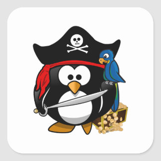 Cute Pirate Penguin with Treasure Chest Square Sticker