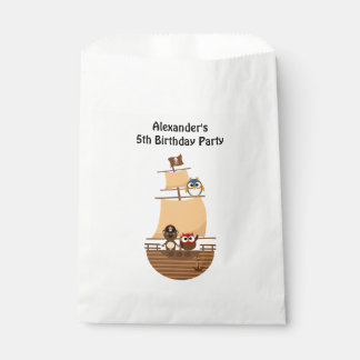 Cute Pirate Ship Blue Burlap Kid Birthday Favour Bags