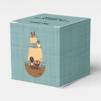 Cute Pirate Ship Blue Burlap Kid Birthday Favour Box