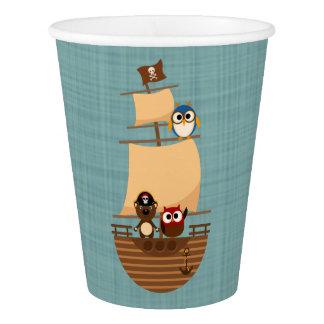 Cute Pirate Ship Blue Burlap Kid Birthday Paper Cup