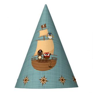 Cute Pirate Ship Blue Burlap Kid Birthday Party Hat