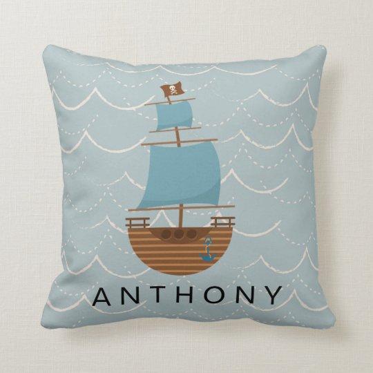 Cute Pirate Ship Blue Waves Nursery Decor Cushion