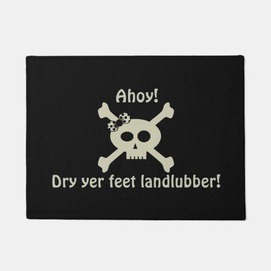 Cute Pirate Skull Black Door Mat, Custom Text