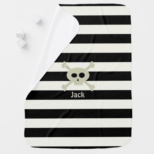 Cute Pirate Skull Stripe Personalised Baby Blanket