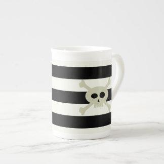 Cute Pirate Skull Stripe Personalized Bone China Bone China Mug