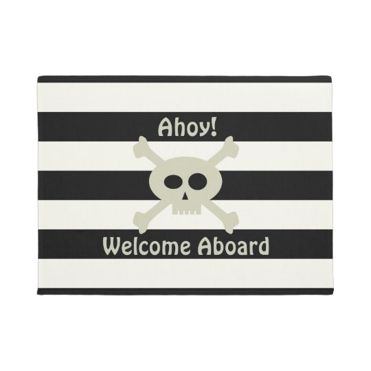 Cute Pirate Skull Stripe Welcome Aboard Door Mat