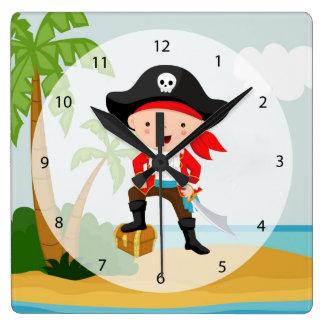 Cute Pirate Square Wall Clock