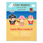 Cute Pirate Themed Kids Birthday Party Invitations