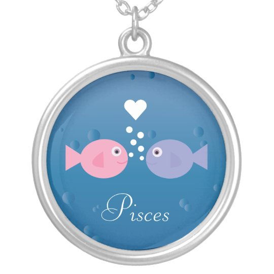 Cute Pisces Fish & Heart Custom Zodiac Silver